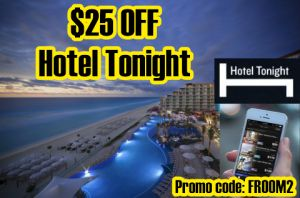 hotel tonight promo code for $25 off booking. also, a list of more hotel coupon codes.
