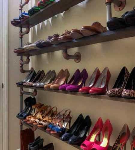 Shoe shelf made of pipes