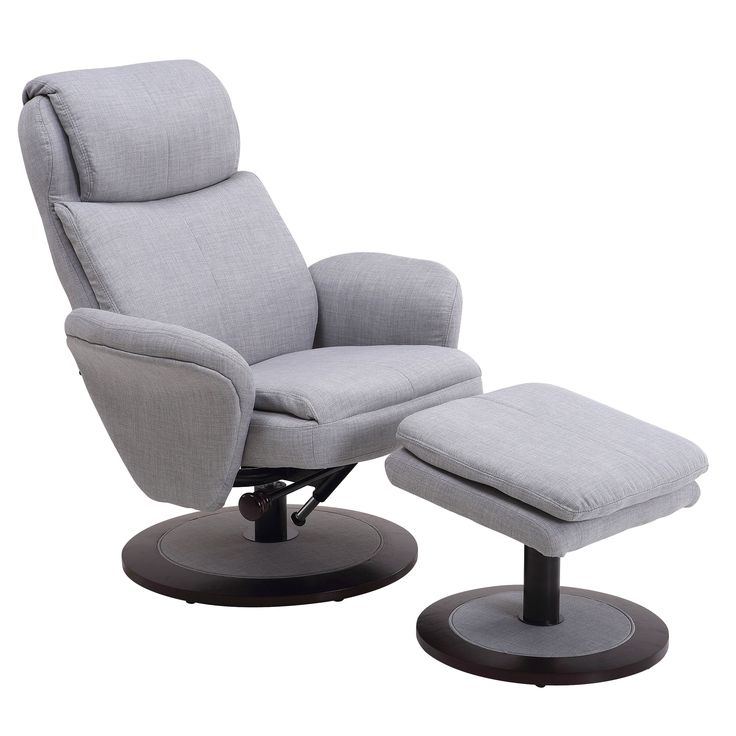 Berum Collection Light Grey Fabric Swivel Recliner with Ottoman (Light Grey Fabric Swivel Recliner with Ottoman) (Polyester Blend)