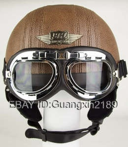 Dot Leather Coffee Half motorbike Open Face Helmet Motorcycle Goggles Visor Free | eBay