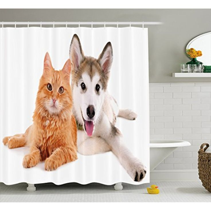 Cute Shower Curtain By Lunarable Dog And Cat Lying Together On White Background Friends Furry Domestic Animals Fabric Bathroom Decor Set With Hooks