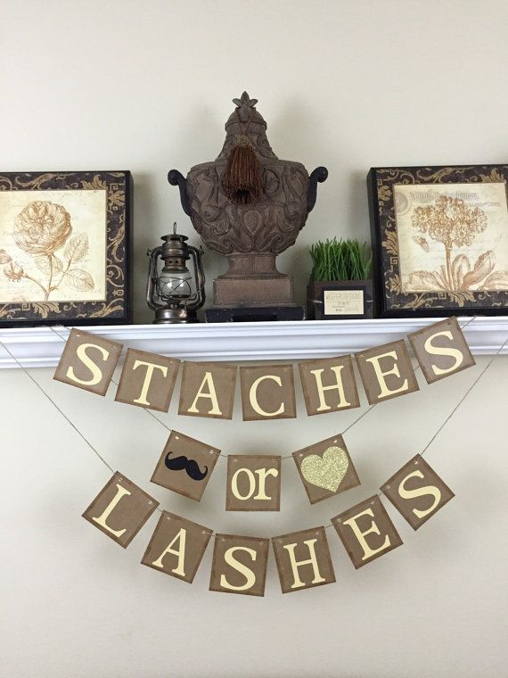 Staches or Lashes Banner Gender Reveal banner by WeefersDesigns