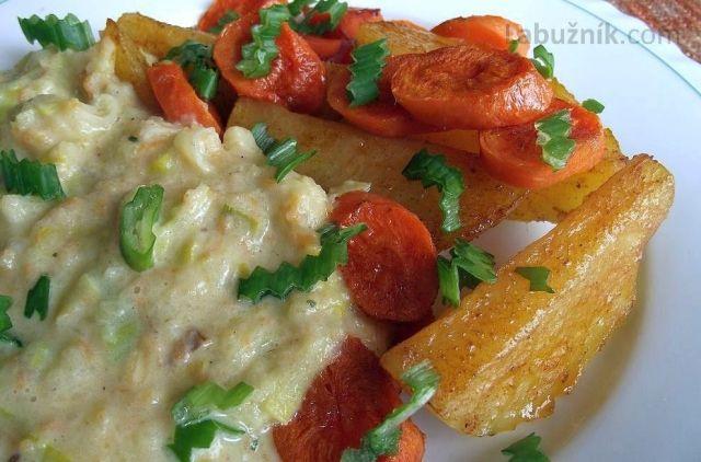 Des carottes au purée de poireau
