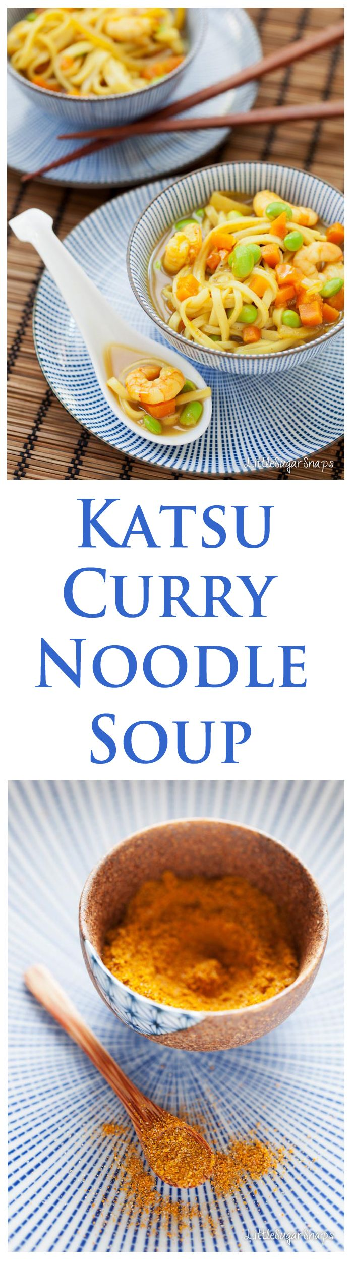 Noodle Soup loaded with Katsu Curry flavours. Great with prawns, chicken or shitake mushrooms for a vegetarian twist.