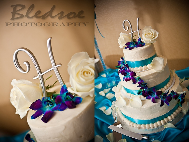 I Love The Colors And The Flowers And The Cake Topper! The Perfect Turquoise  And Purple Cake!