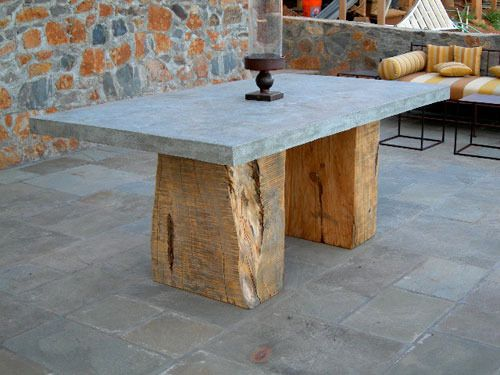 The Split Block Concrete Table is a monolithic table that is both rustic and elegant. This table can be made with a cypress, douglas fir, or redwood base