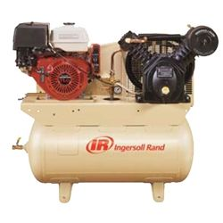 Ingersoll Rand 2475F13GH Honda Gas Drive 13HP 30 Gallon Horizontal Air Compressor with Alternator.  Ingersoll Rand's two-stage gasoline engine driven air compressors are designed to provide compressed air where electric power is not readily available. They're used in fleet and field service applications, remote pneumatic applications and emergency production lines.  Made in the USA.