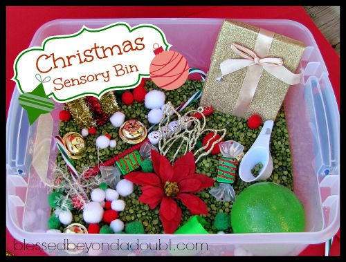 Christmas Sensory bin idea! It keeps my daughter busy for almost an hour!