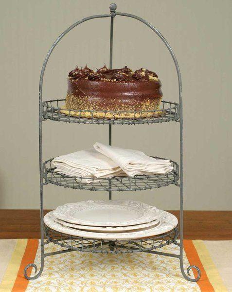 Galvanized Three-Tier Cake Stand Display by MarcisCountryMarket