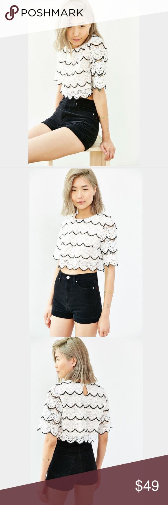 Sister Jane 🎪 Falcon Wings Top Opt for a playful silhouette in this scallop layered lace top. With contrast black edging for stand-out details. 100% Polyester. Keyhole opening at back with sweet white button closure. Demi Lovato's a huge fan too! Cheers! Sister Jane Tops Crop Tops