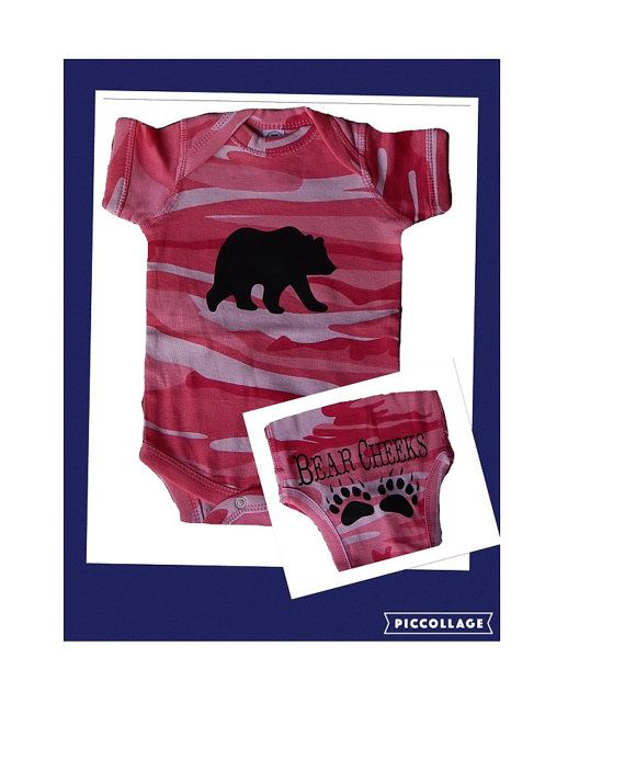 Pink Camouflage baby onesie Bear Cheeks girl camo onesie