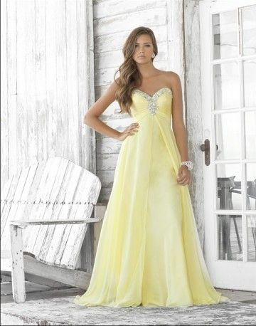 Prom?: Evening Dresses, Yellow Dresses, Bridesmaid Dresses, Yellow Prom Dresses, The Dress, Chiffon Prom Dresses, Promdress, Dresses Prom, Chiffon Dresses