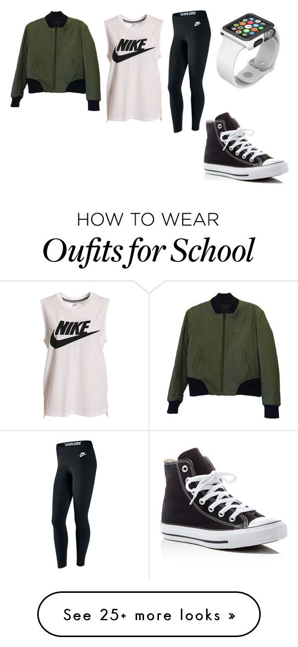 """""""Simple School Outfit"""" by farahr0798 on Polyvore featuring NIKE, rag & bone, Converse and Apple"""