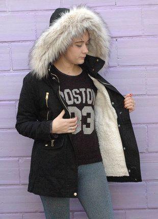 À vendre sur #vintedfrance ! http://www.vinted.fr/mode-femmes/parkas/26360422-parka-manteau-veste-femme-interieur-double-noir-col-fourrure-beige-taille-l