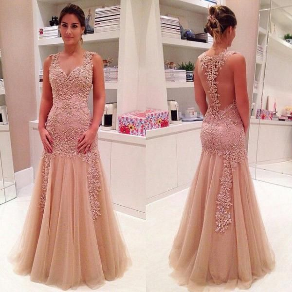 Elegant Mermaid Tulle Floor-length Prom Dresses, Discount Prom Dresses with Lace Appliques, See-through Champagne Prom Dress, #020102421