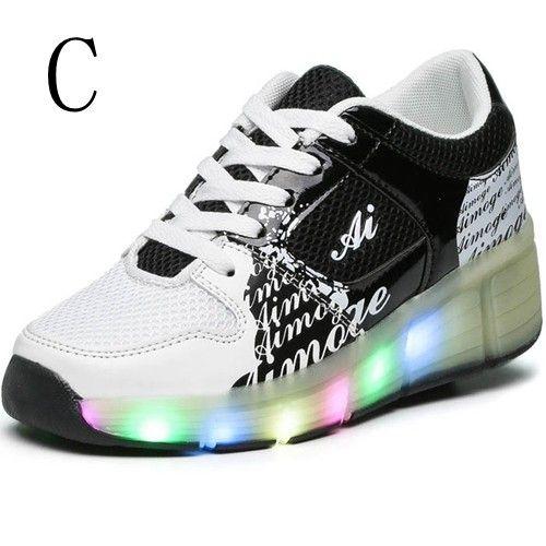 Schwarze Leuchtende Schuhe Mit Rollen Kind Für Mädchen