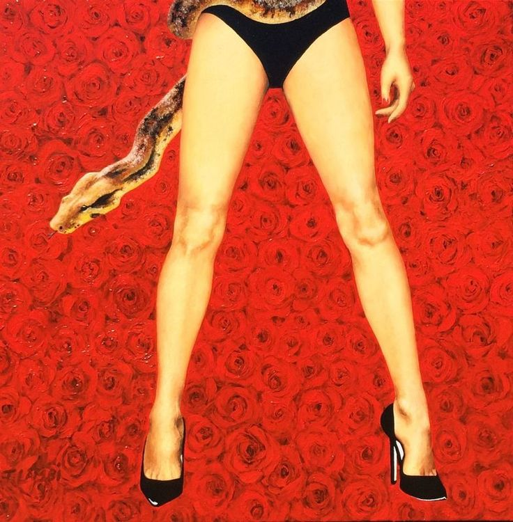 """""""Original Sin"""" by Trisha  Lambi. Oil painting on Canvas, Subject: Nudes and erotic, Photorealistic style, One of a kind artwork, Signed on the front, This artwork is sold unframed, Size: 90 x 90 x 4 cm (unframed), 35.43 x 35.43 x 1.57 in (unframed), Materials: oil on linen"""