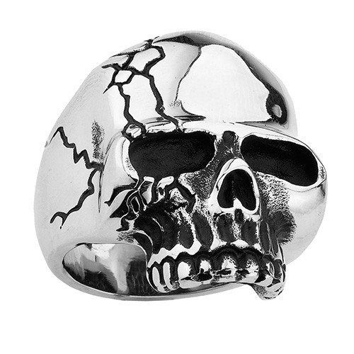 Stainless Steel Skull Ring With More Cracks On One Side Made of highest grade 316L stainless steel, oxidized casting finish with skull design. Wear it with p...