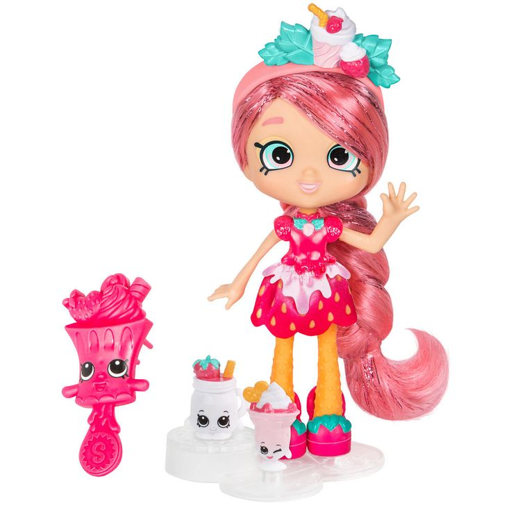 Introducing all new Shoppies, ready to show off their style!<br><br>Sweet and cheeky, Lucy Smoothie sometimes lands herself in a jam! But this smooth talker always gets out of any sticky situation. Bright and sassy, this fruity cutie loves to delight her friends with a berry sweet summertime treat!<br><br>Lucy Smoothie comes with a hair brush, 2 Exclusive Shopkins (her BFFs!), a purse, a doll stand, and a VIP card that unlocks bonus content in the Welcome to Shopville...
