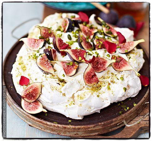 Pistachio and rosewater pavlova with Greek yogurt, honey and figs Meringue Girls Cookbook recipe Via Sainsbury