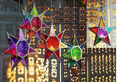 Linterna marroquí estilo vidrio colgante de estrella Portacandelitas Multi Color de Luz de Té