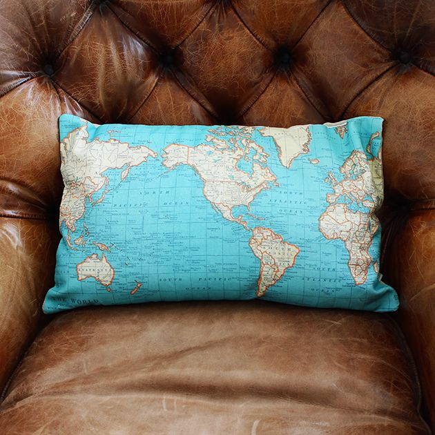 Around the World Map Cushion | Gifts for Him | Sass & Belle