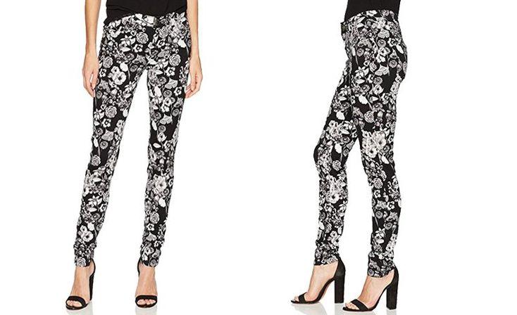 #Desigual Hosen Damen - Blumemusterung, schwarz, weiß.
