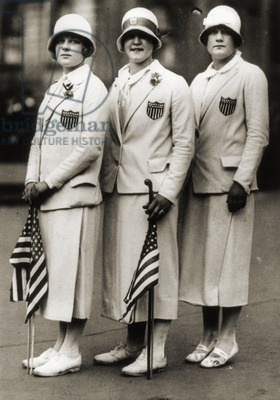 Aileen Riggin, Gertrude Ederle, Helen Wainwright, Three American Olympic Swimming Champions, 1924 (b/w photo)/ American photographer