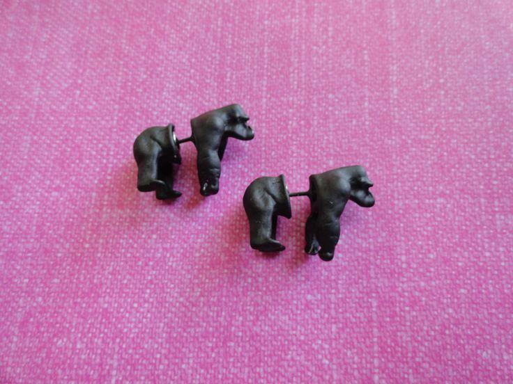 Gorilla monkey 3D fake plug gauge peek a boo metal earrings- PAIR