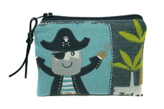 petit porte-monnaie enfant garçon en tissu pirate