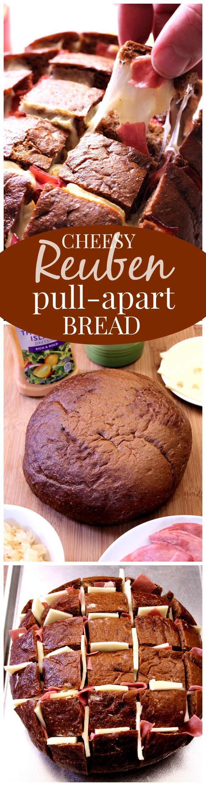 Easy Cheesy Reuben Pull Apart Bread - this one is EPIC! Pumpernickel bread filled with Thousand Island dressing, sauerkraut, corned beef and lots of cheese! Pull apart bread Reuben style!