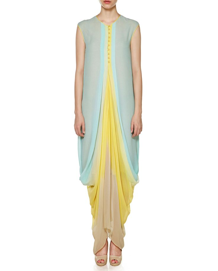 Anita Dongre Aqua Blue, Lemon Yellow and Beige Drape Dress