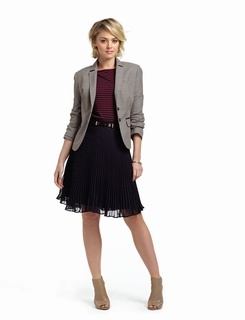 Top Look2: Limited Tops, Fall Wint, Navy Stripes, Polka Dots Skirts, Blue Skirts, Stripes Tops, Fall Outfits, Pleated Skirts, Boatneck Tops