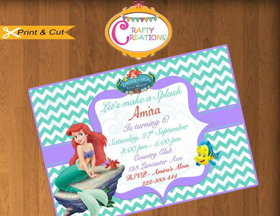 Best Girl Birthday Invitations Images On Pinterest Girl - Custom ariel birthday invitations