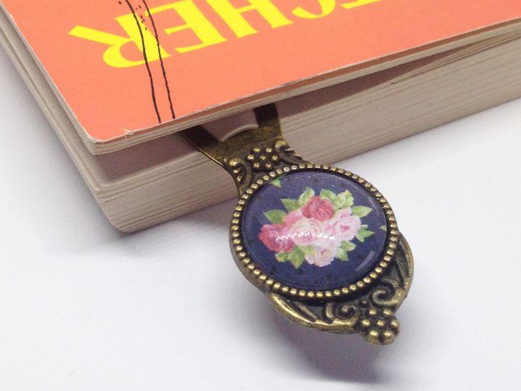 Lesezeichen Rosen auf Dunkelblau, Vintage