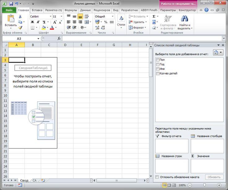 Учимся анализировать большие объемы данных, часть 2. Создаем сводные таблицы и диаграммы