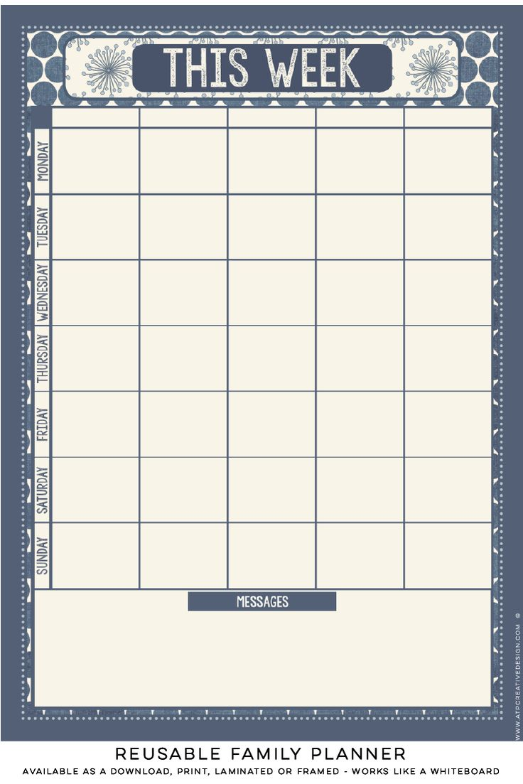 Reusable family planner with sections for up to 5 family members. A beautiful way to help busy households to plan and organise. www.atpcreativedesign.com