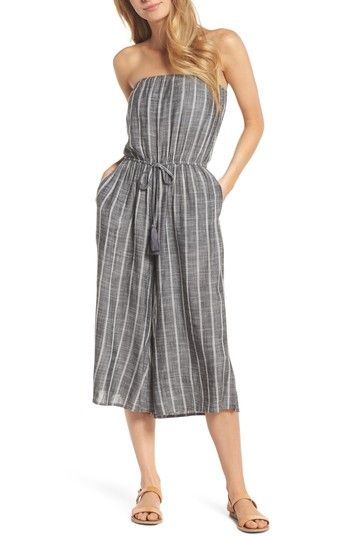 6702f087564 Free shipping and returns on Elan Strapless Cover-Up Jumpsuit at  Nordstrom.com. Cover up after hitting the waves in a lightweight striped  jumpsuit that ...