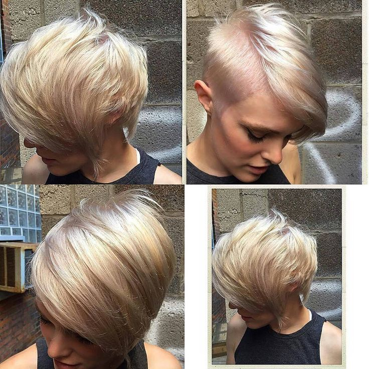 Platinum Blonde Pixie With Undercut Dramatic Part And
