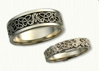 Custom AM Initial Band With Triangle Knots Wedding Set