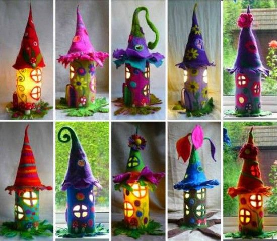 Paper Roll Fairy Houses