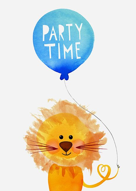Margaret Berg Art: Lion+Party+Time