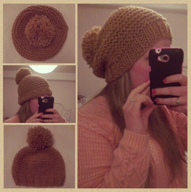 Quick knitted loose ladies bobble hat in chunky