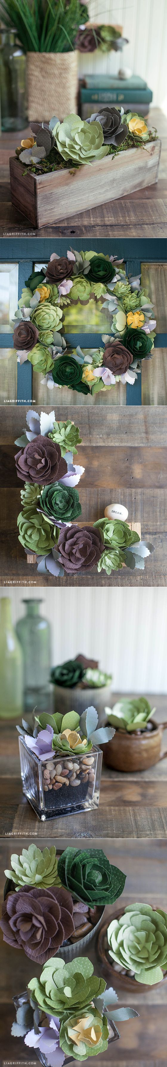 Patterns and Tutorial for Paper Succulents | Суккуленты из бумаги