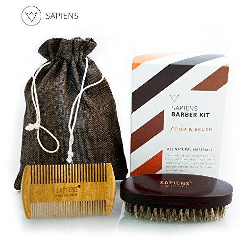 Idée #cadeau pour les #barbus : le #kit à #barbe en soie de sanglier naturelle : http://soncadeauoriginal.com/produit/kit-a-barbe-avec-brosse-a-barbe-en-soie-de-sanglier-naturelle-peigne-a-barbe-en-bois-de-santal-antistatique-a-utiliser-avec-ou-sans-huile-baume-a-barbe-coffret-cadeau-pour-homme-sapiens/