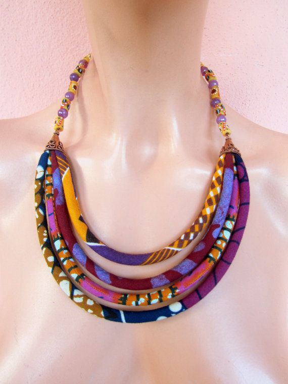 Tribal Necklace - Bib necklace-  African Necklace, Recycled jewelry,  holiday gift - fabric bohemian jewelry- purple and pink