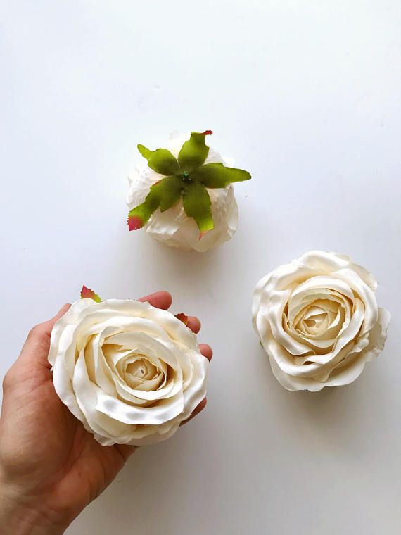 3 pieces ivory silk rose heads artificial roses rose head flowers