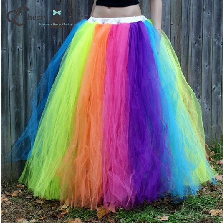 Barato Arco íris Tutu saia mulheres chão Tulle saia adulto Halloween festa de…