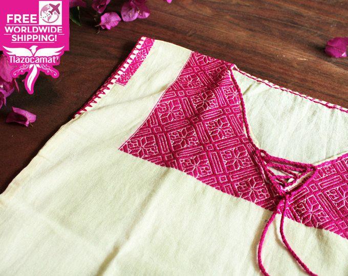 Huipil rosa, blusa boho, playera mexicana, rosa mexicano, handmade blouse, blusa mexicana bordada a mano, blusa artesanal, único en el mundo