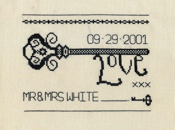 Vintage Welcome Key Cross Stitch chart. Wedding and by StitchKits, £4.99